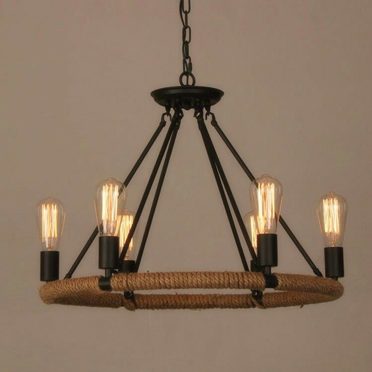 Rustic metal table lamps - Industrial Farmhouse Iron Chandelier Light Edison Cafe Bar